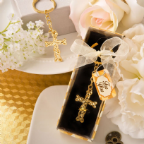 Dramatic Gold Metal Cross Key Ring